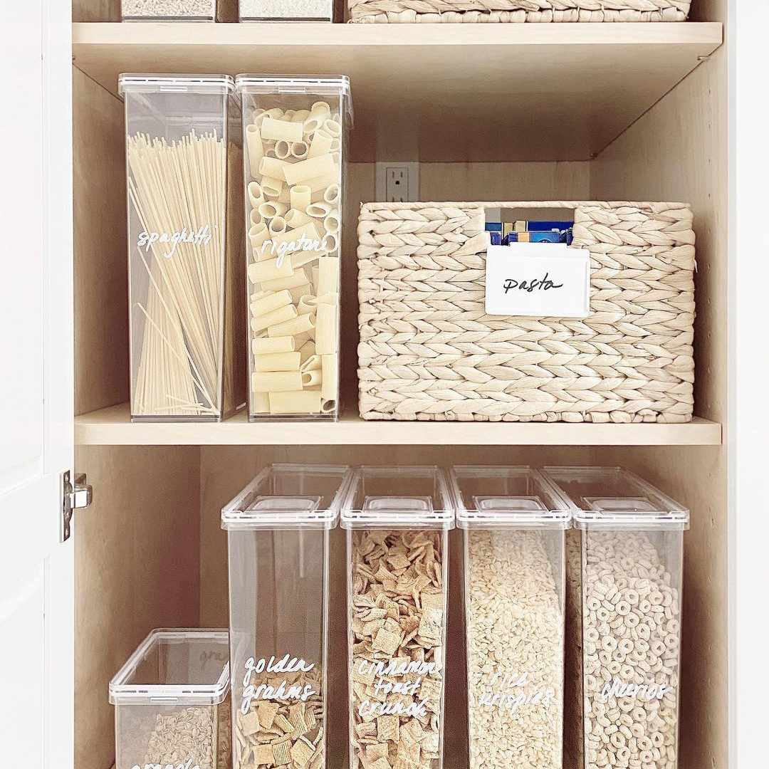 Cabinets with labeled bins