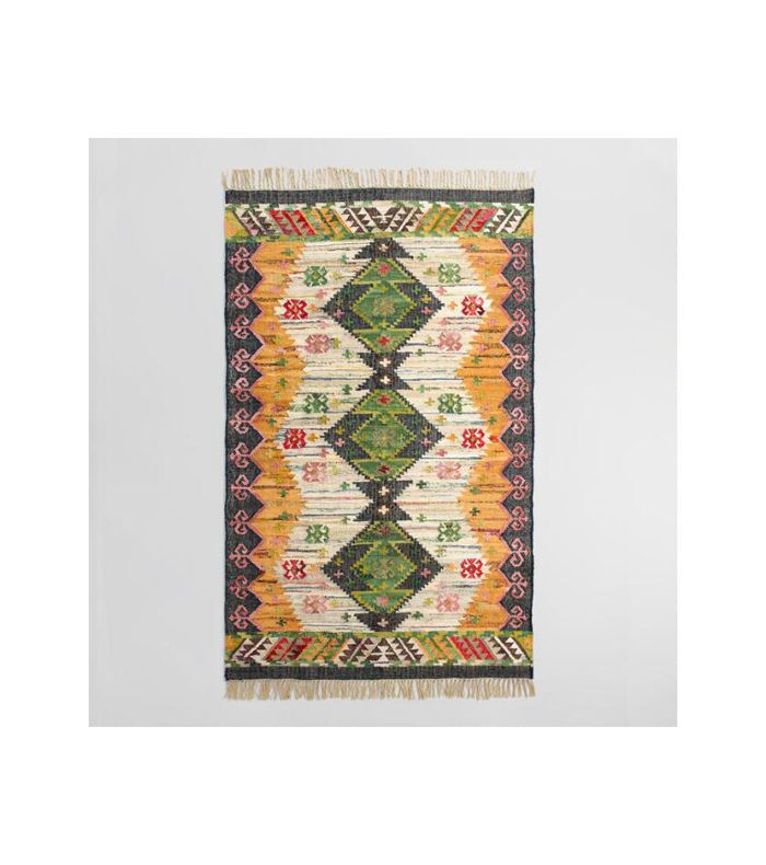 World Market Boho Woven Cotton Kilim Alina Area Rug