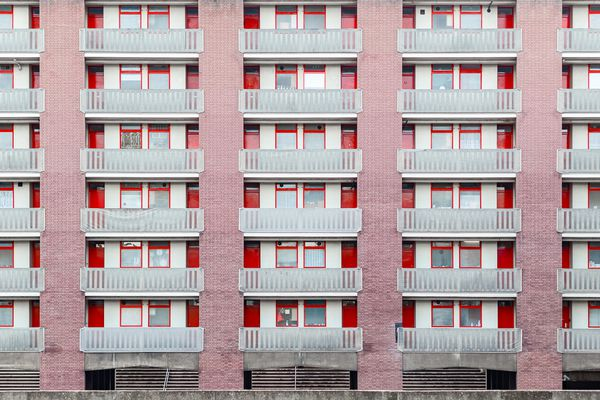 red block building in London