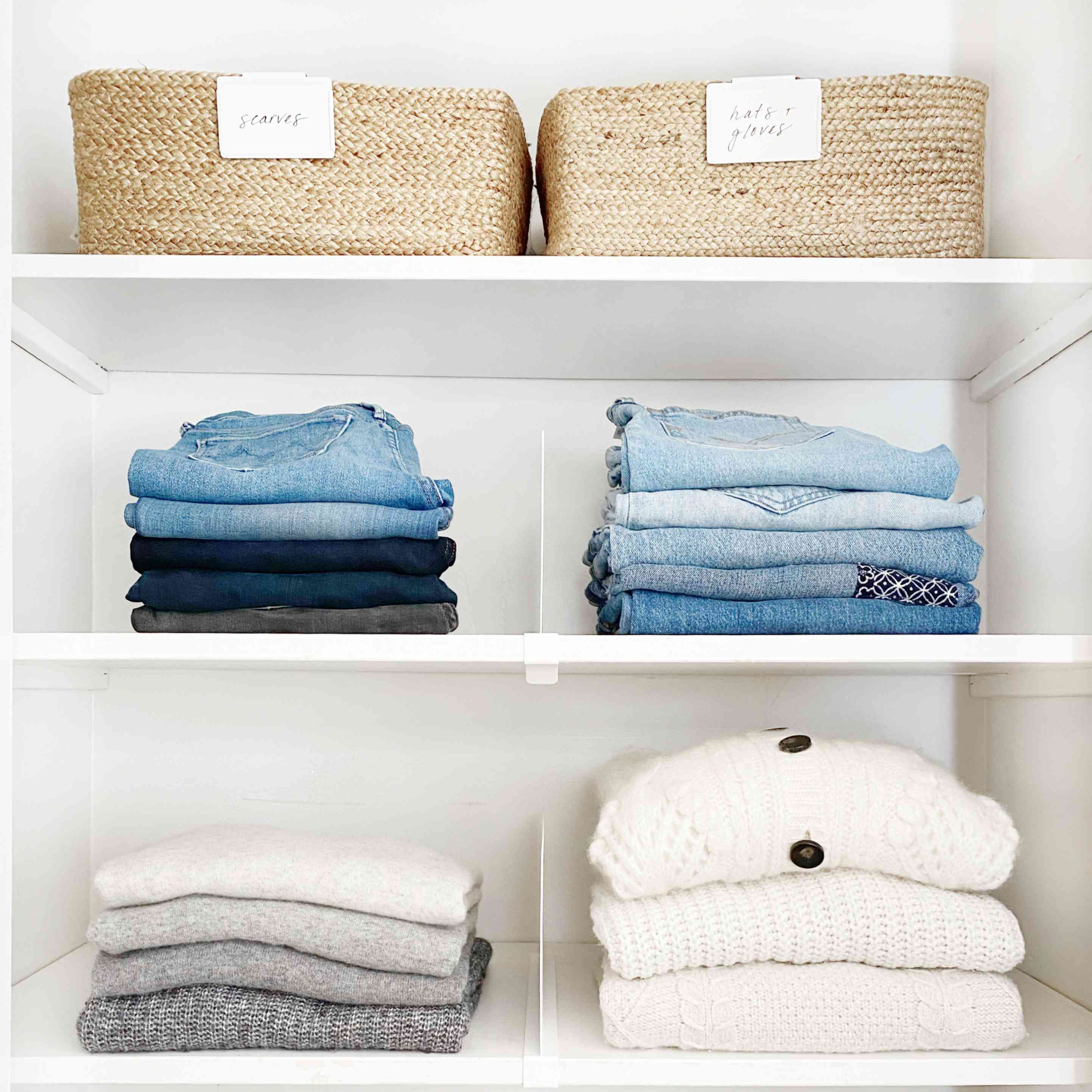 Closet with clear shelf dividers