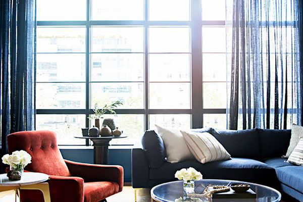 gauzy curtains in a living room