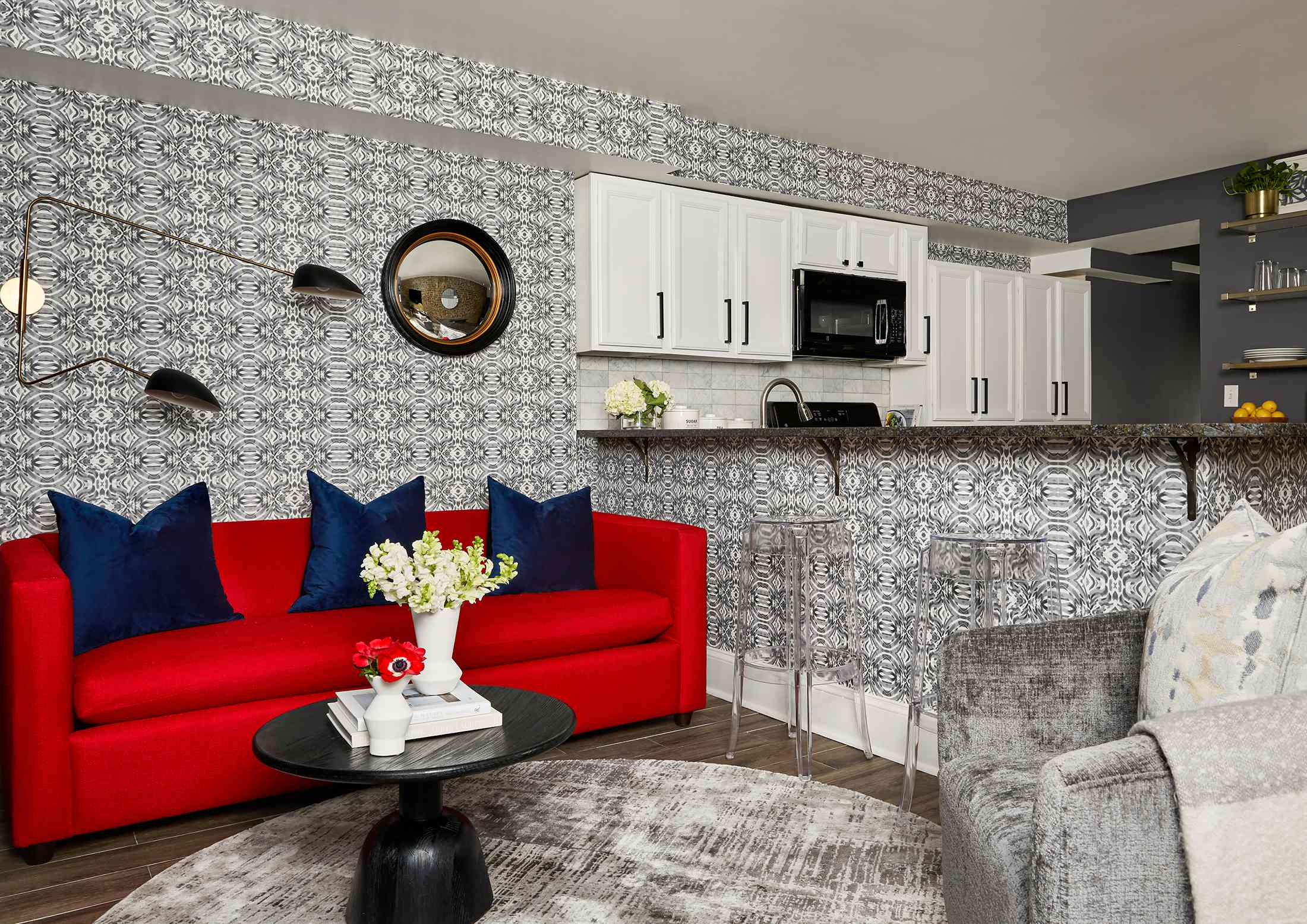 Duke Ellington home tour - living room and kitchen area
