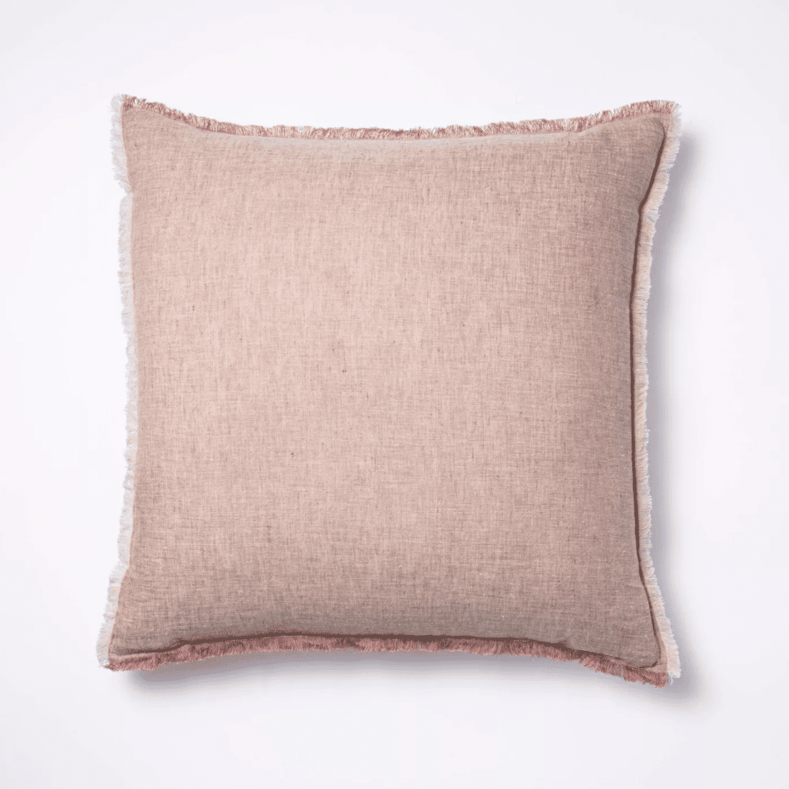 Linen Throw Pillow with Frayed Edges