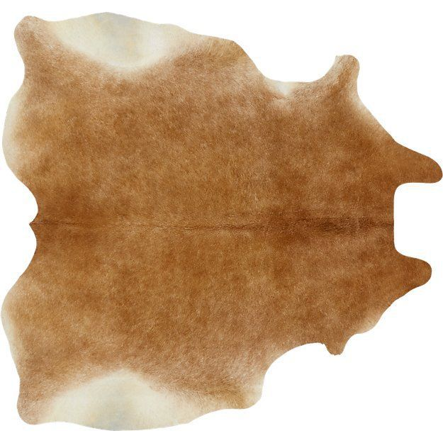 CB2 Cowhide Light Brown Rug—Narrow Room Layouts