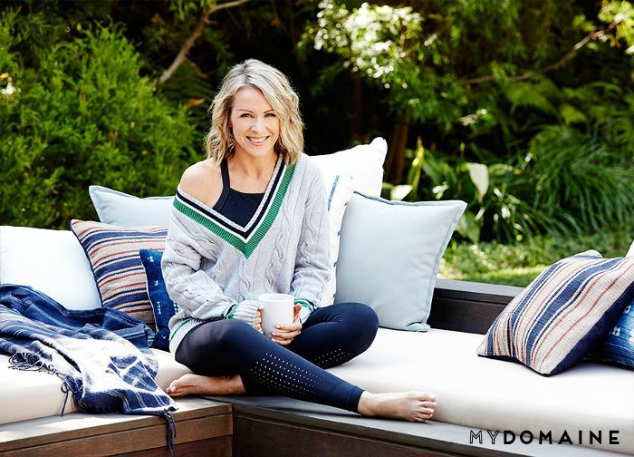 Fitness Mogul Lorna Jane on her patio