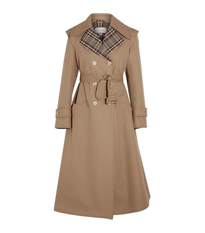 Appliquéd Cotton-blend Gabardine Trench Coat