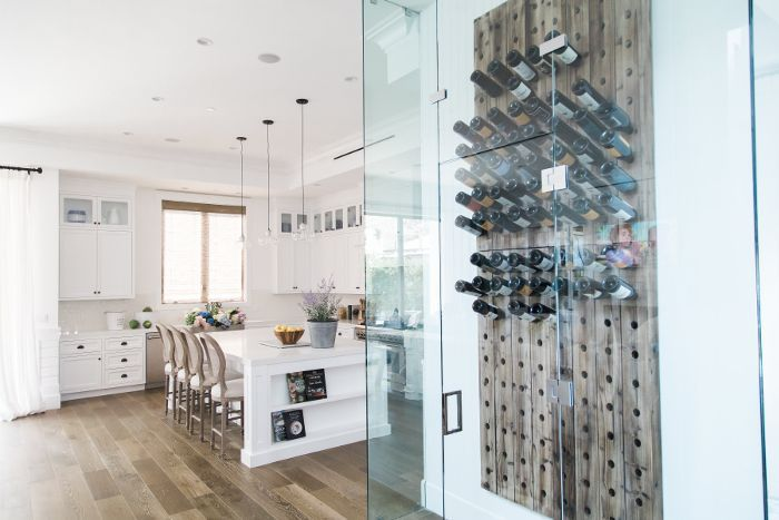 Bachelorette Ali Fedotowsky kitchen with glass-encased wine rack