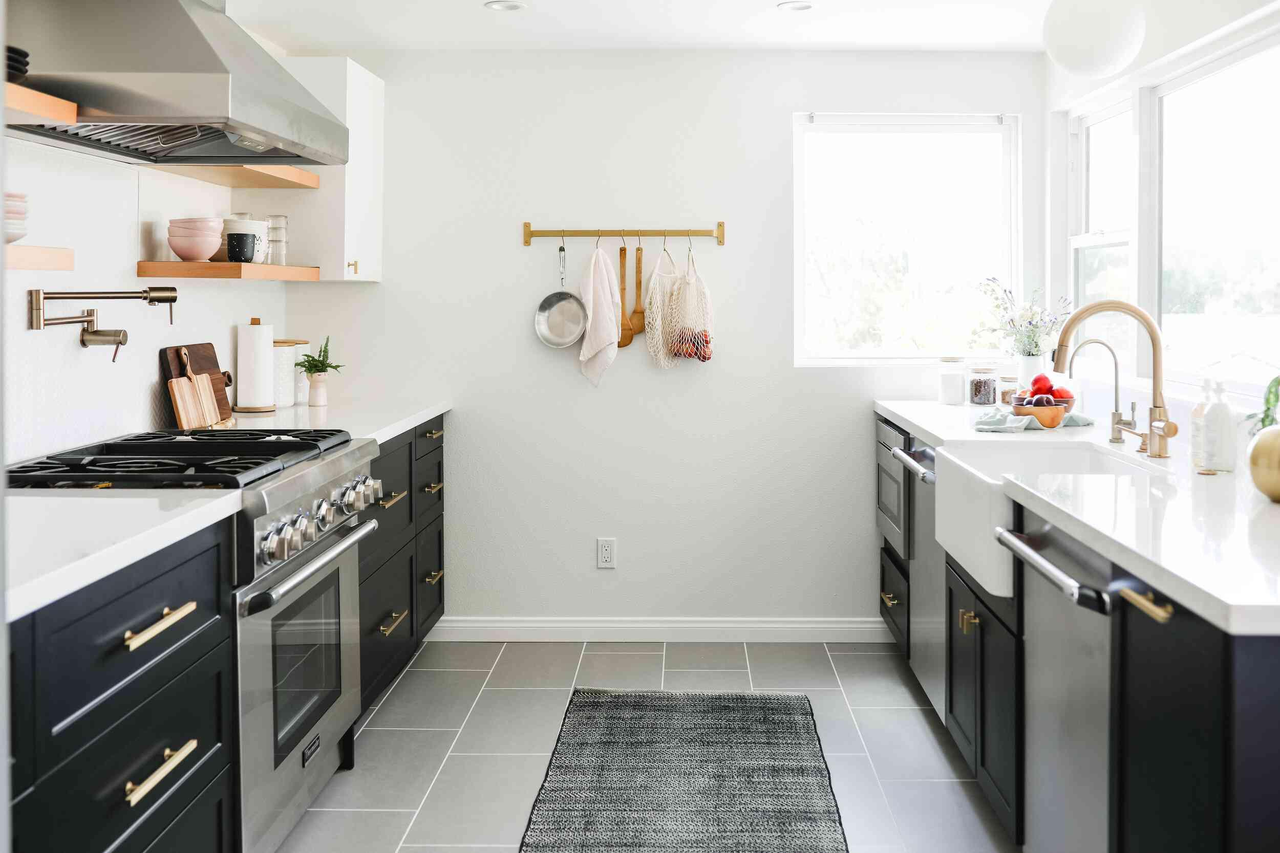 gray kitchen rug in black kitchen