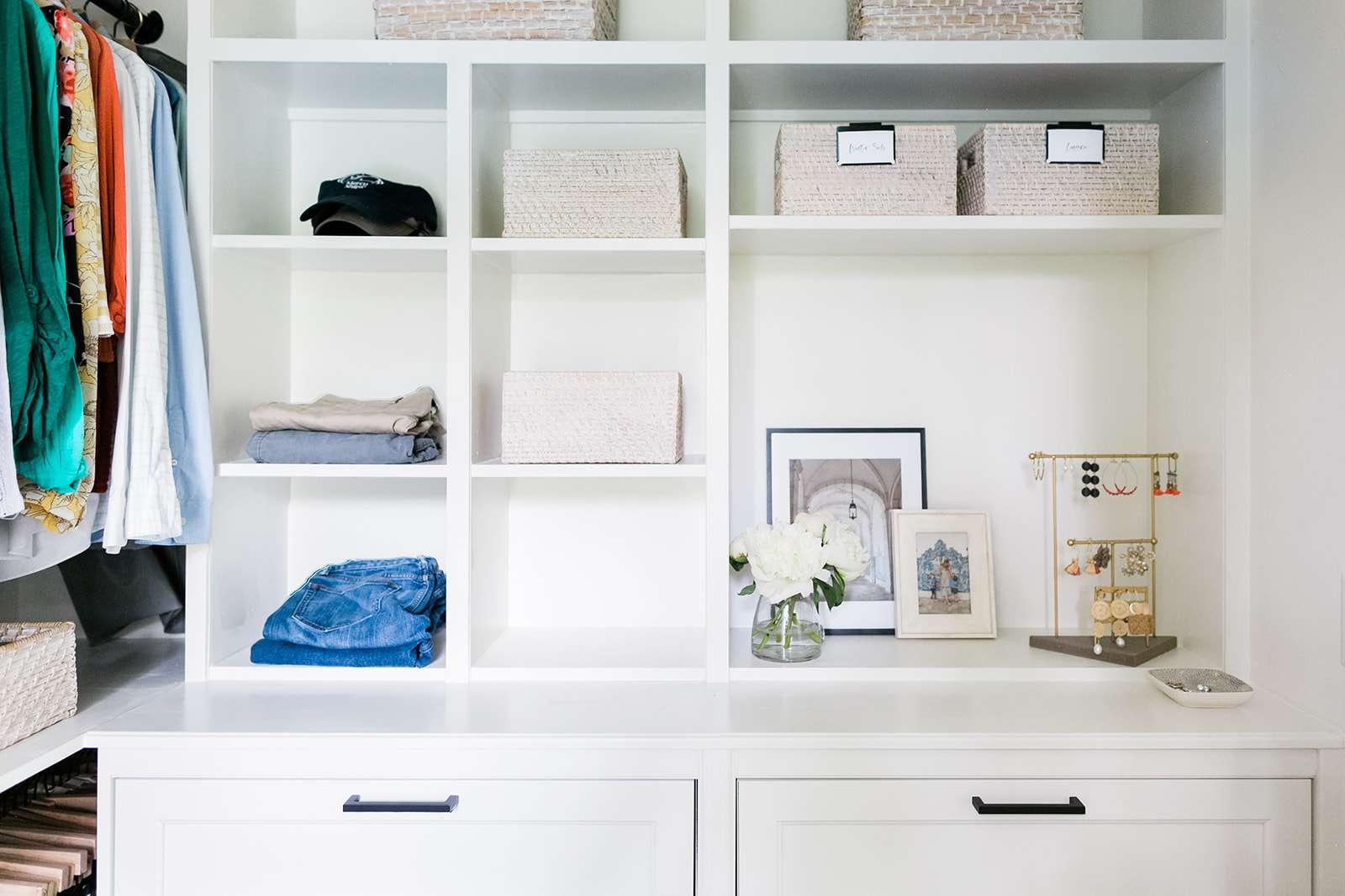 minimalist closet with storage