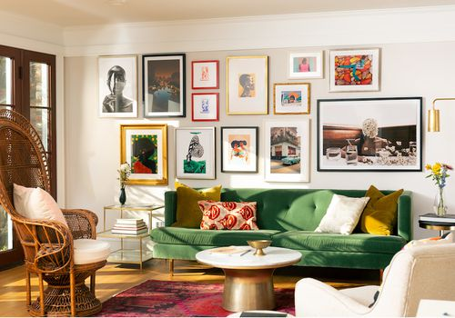 Colorful living room featuring Framebridge Black Artists prints.