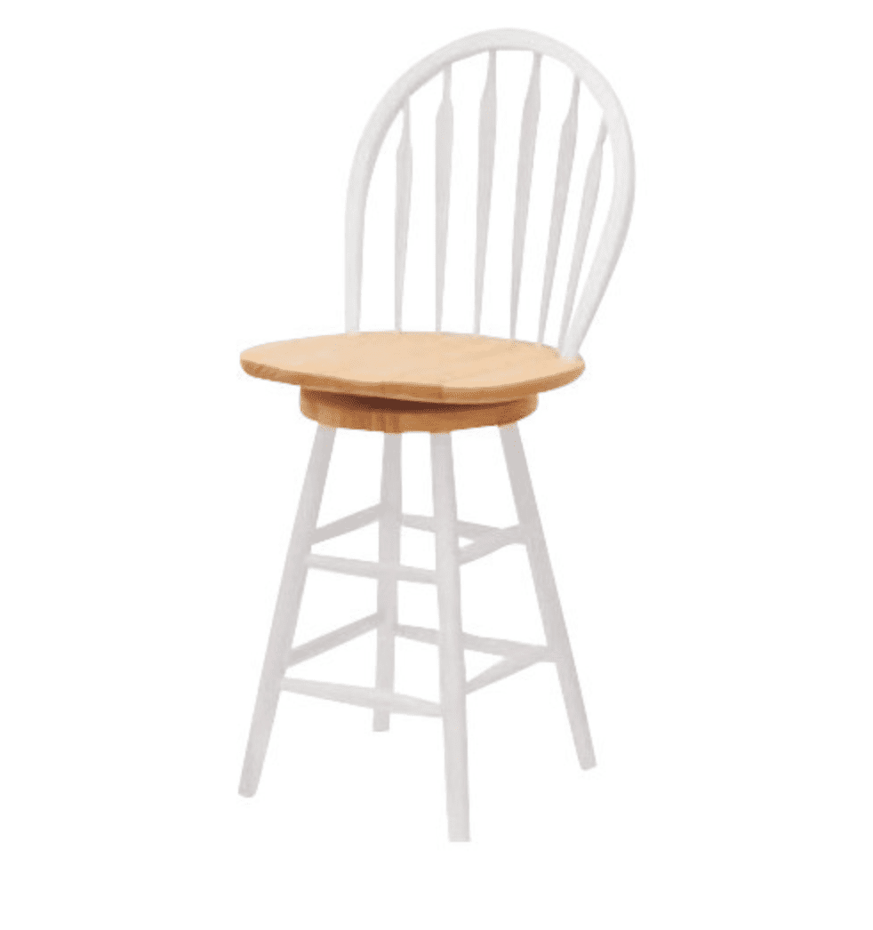 Arrow-back barstool in natural and white