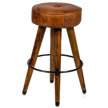 Milan Direct Infinity Leather Bar Stool Wood and Metal