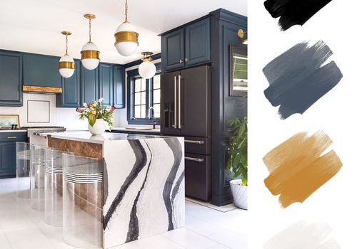 kitchen color schemes - blue and gold and white