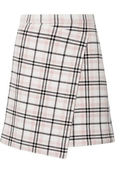 Asymmetric Plaid Wool-blend Mini Skirt
