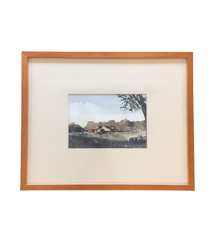 Chairish Vintage Original Watercolor Landscape With Cows Painting
