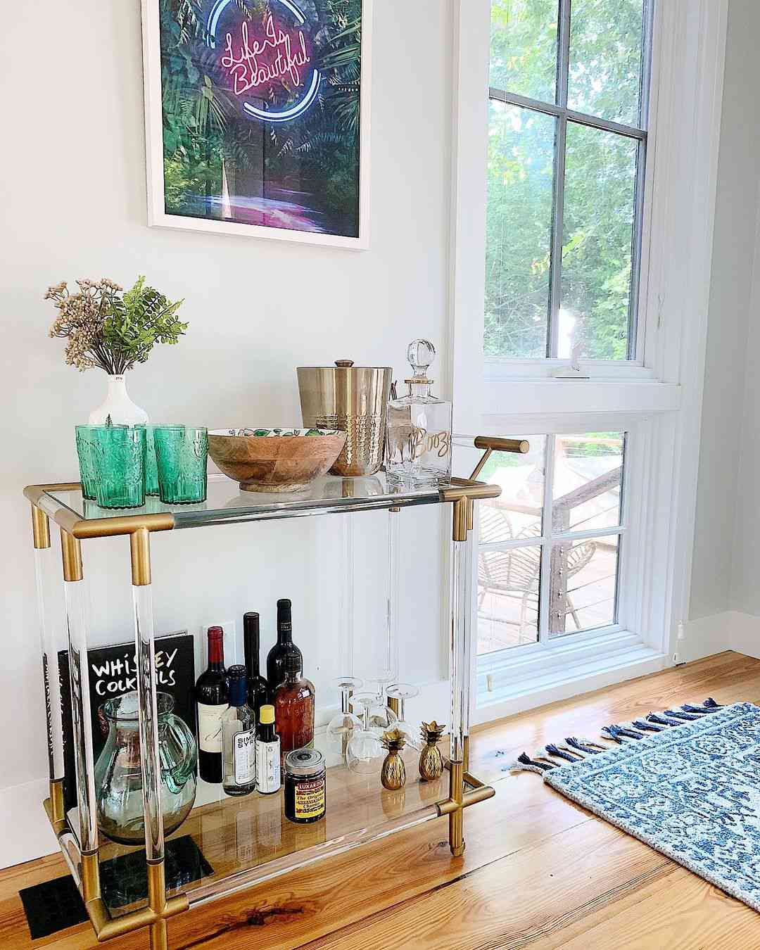 clear and gold bar cart