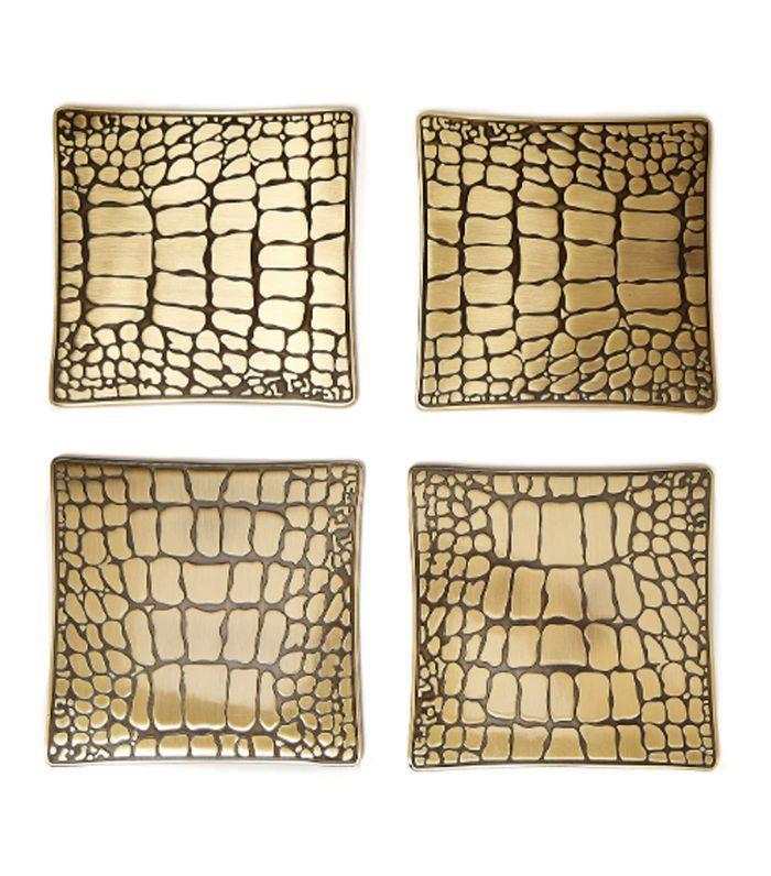 L'objet - Crocodile Brass Coaster Set - Gold