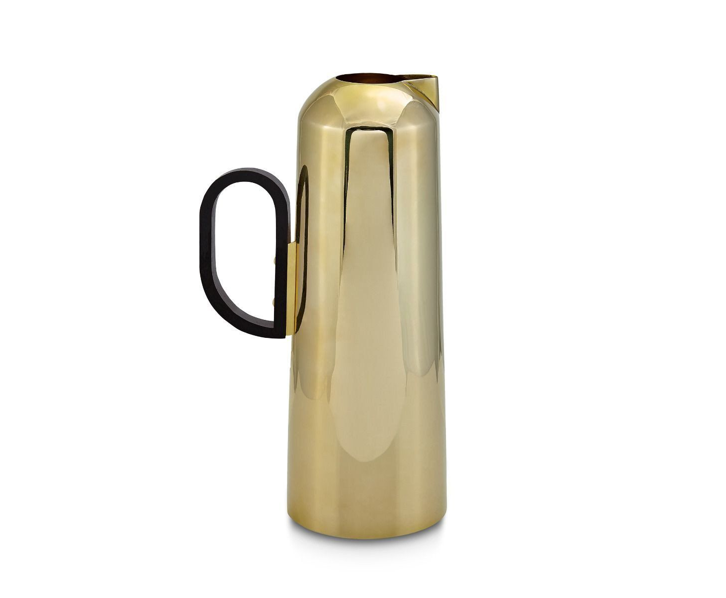 A brass jug with a black handle.