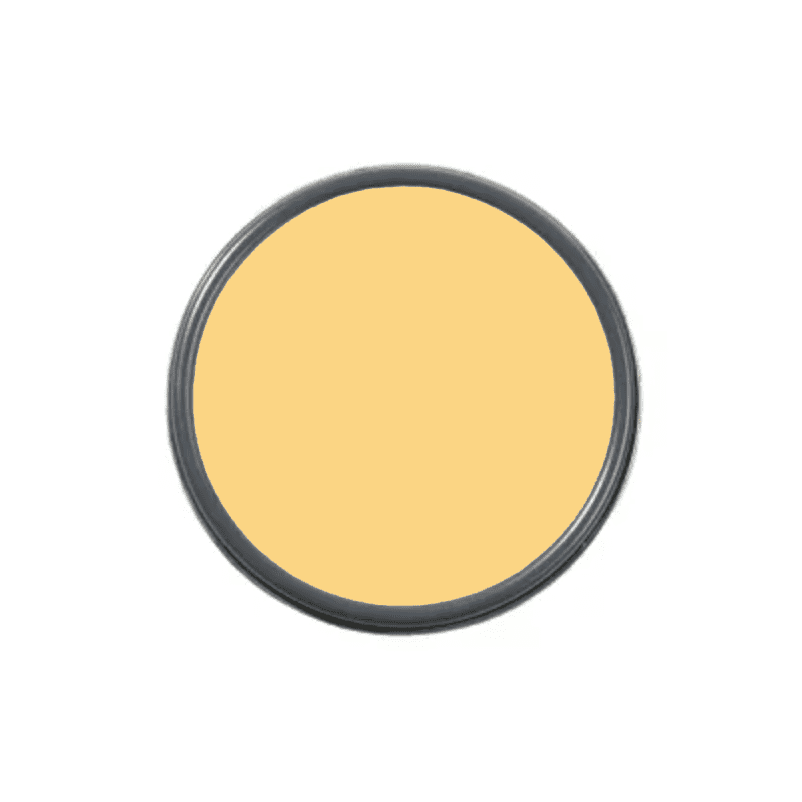 An overhead shot of a paint can with yellow paint in it