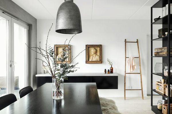 a dining room with Scandinavian design