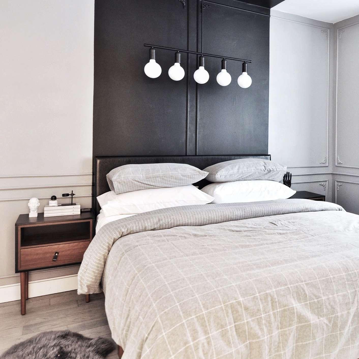 bedroom with black headboard - best bedroom ideas
