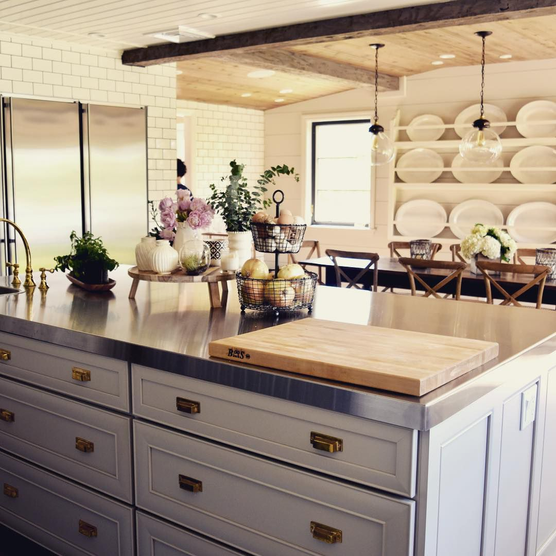 Kitchen with stainless steel counters