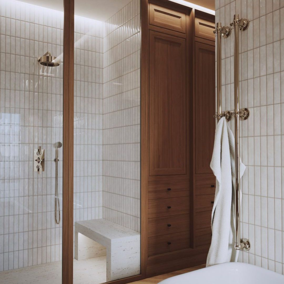 Wood and tile bathroom