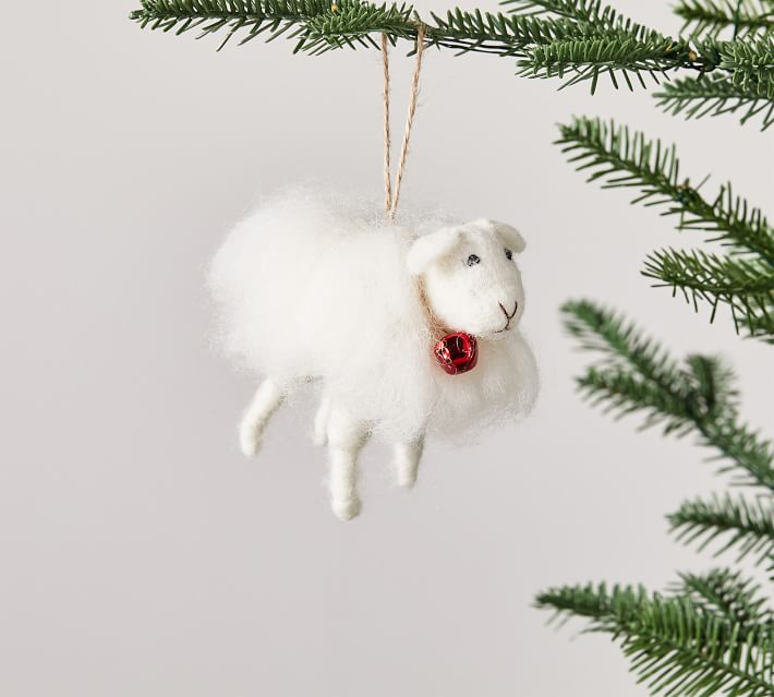 Handcrafted Cozy Sheep Christmas Ornament, White, Set of 3