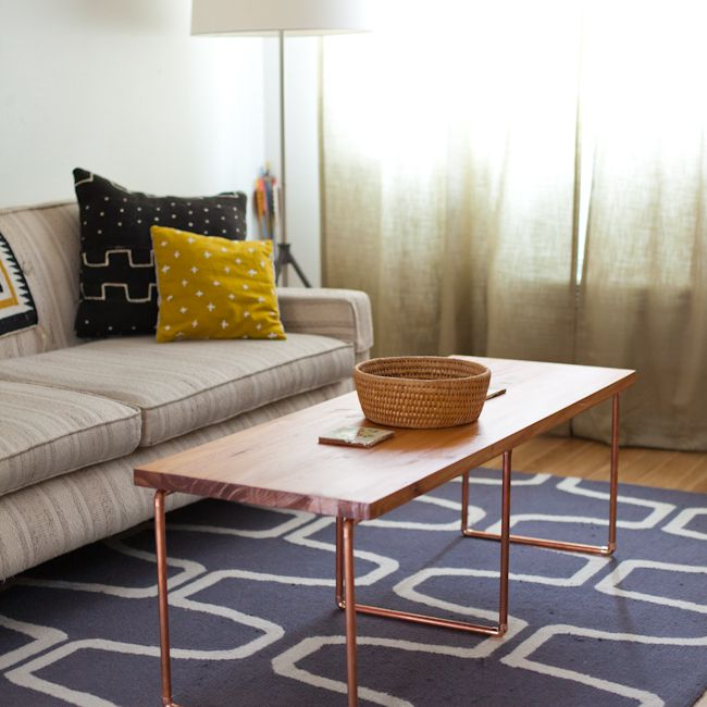 Coffee table with DIY copper pipe legs