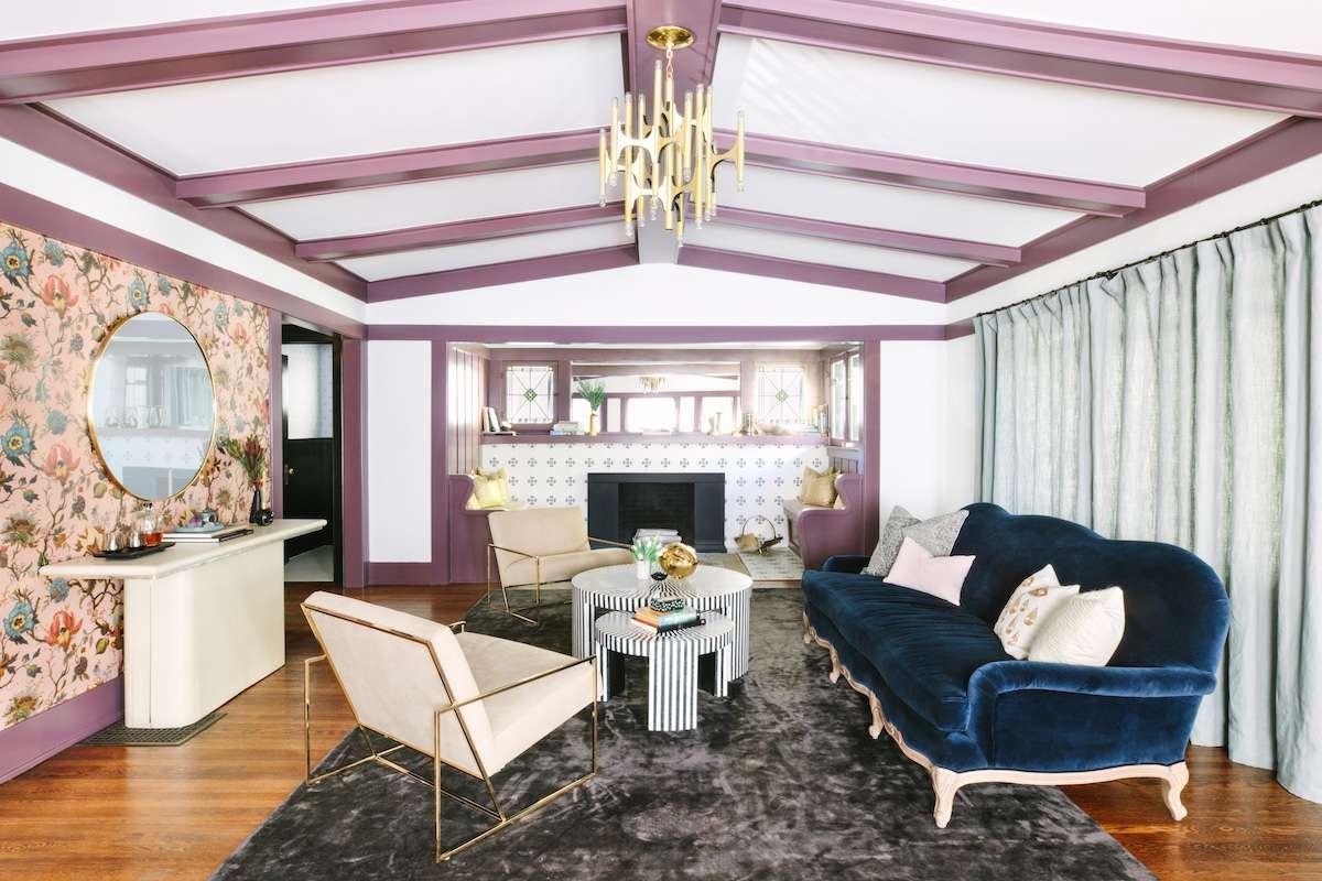 Mauve beams in a living room