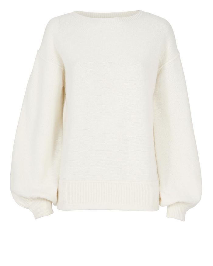 Helmut Lang Balloon Sleeve Pullover Sweater Ivory P