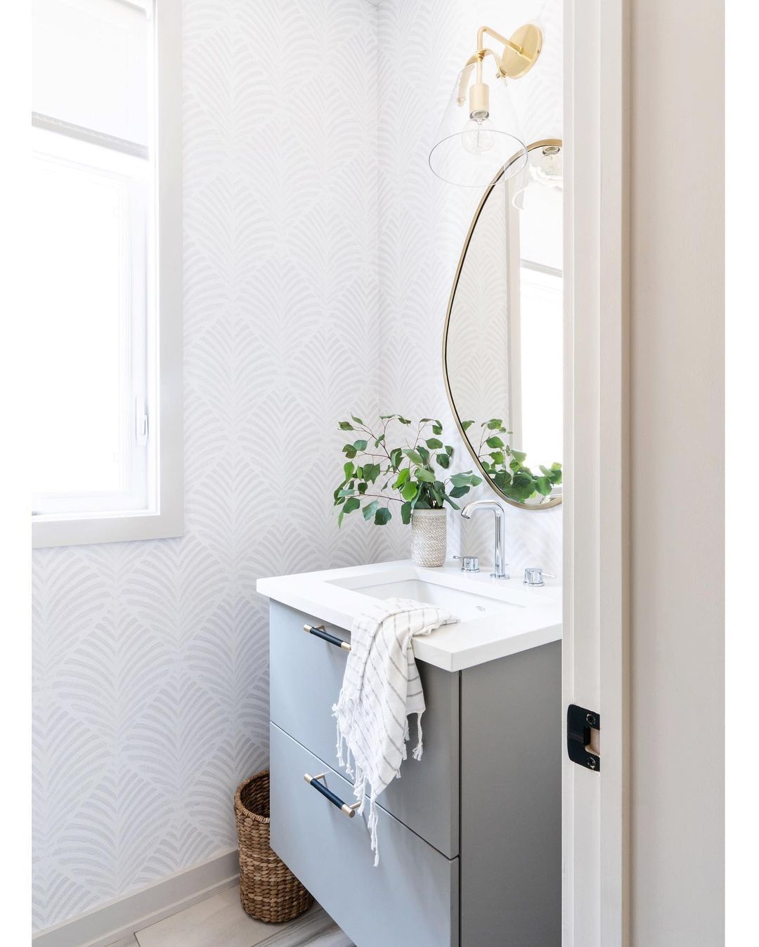 Powder room with wallpaper