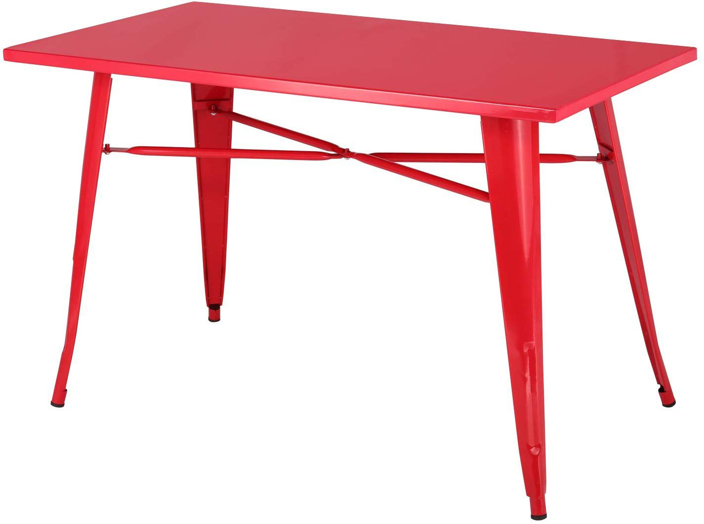 A red metal rectangular dining table with four legs connected by an X base.