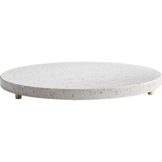 Terrazzo White Round Serving Platter