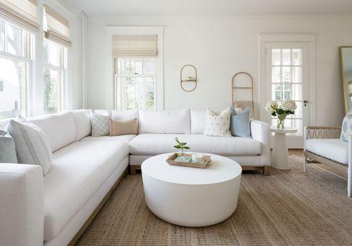 newport beach house tour - bright white living room