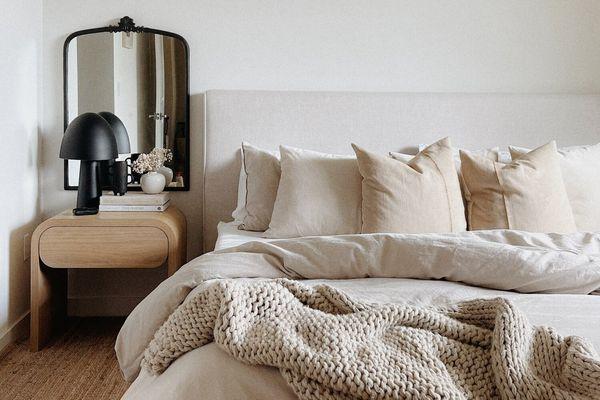 Cozy neutral Scandi bedroom.
