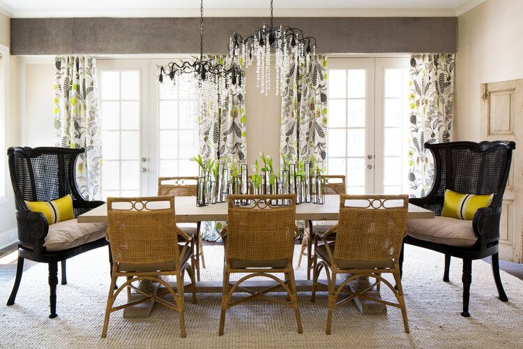 Caribbean-inspired dining room with black cane head chairs