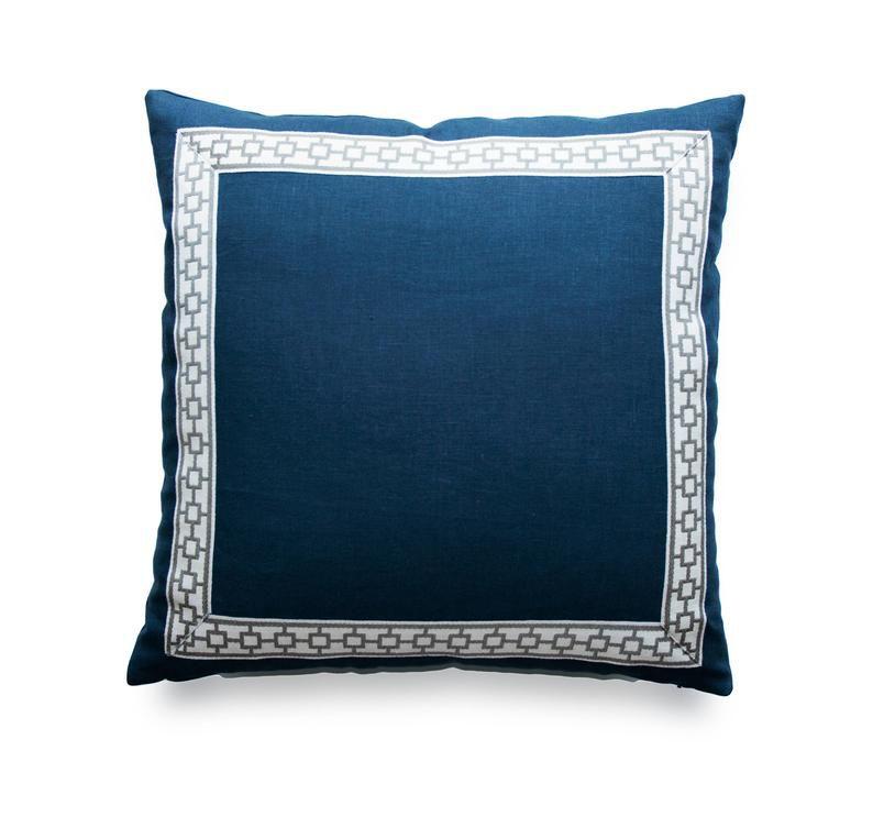 Navy blue pillow.