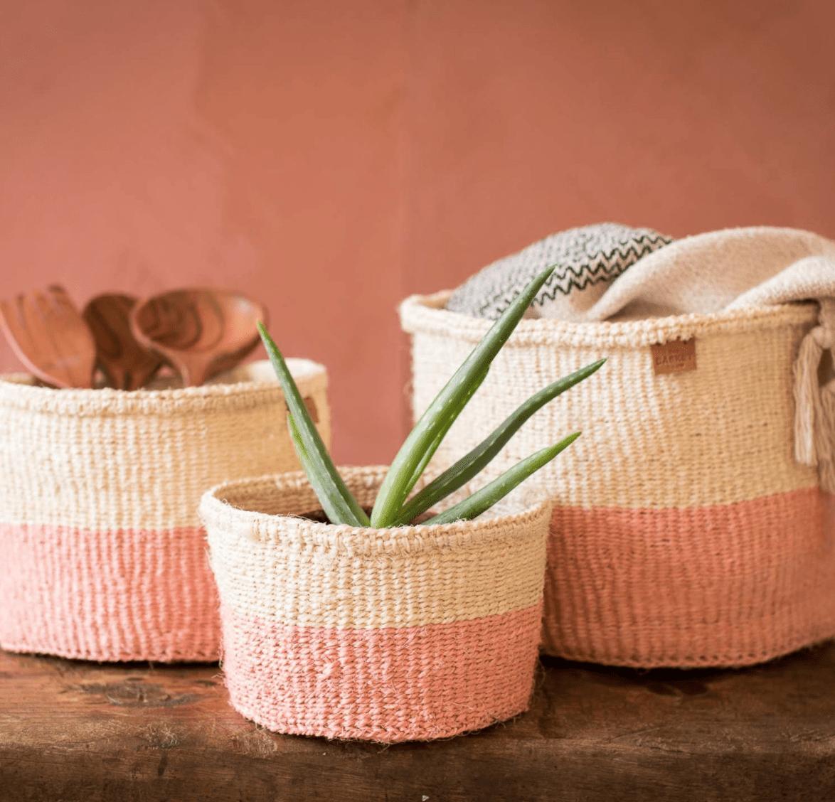 Dusky Pink Colour Block Woven Basket