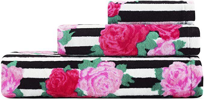 Betsey Johnson Flower Stripe 3 Piece Bath Towel Set