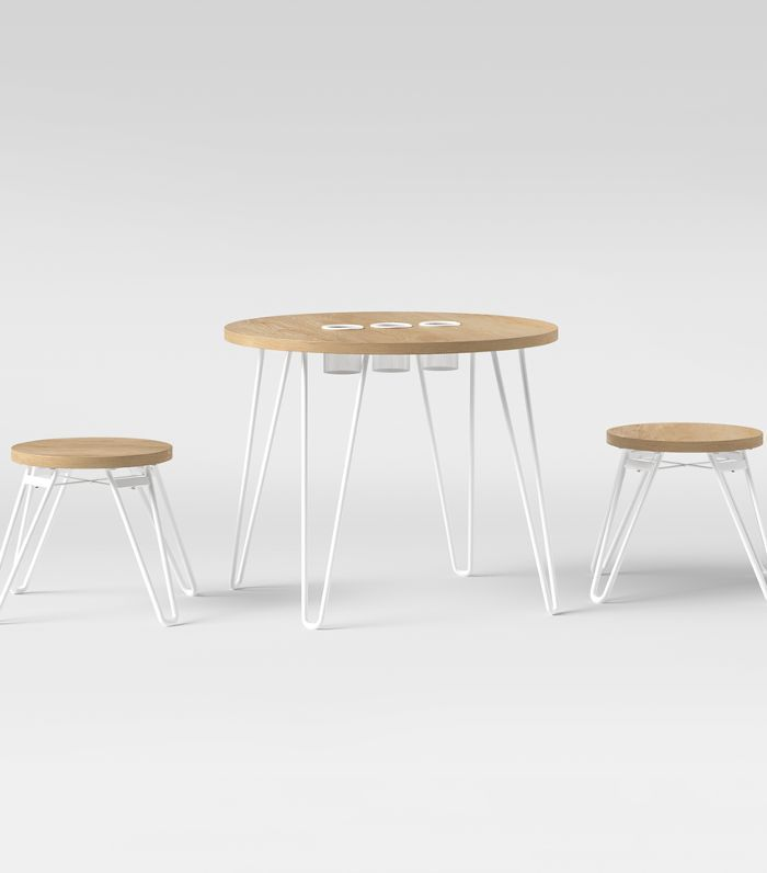 Pillowfort Landry Round Activity Table With Stools Natural