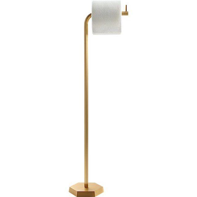 Brass hexagonal standing toilet paper holder