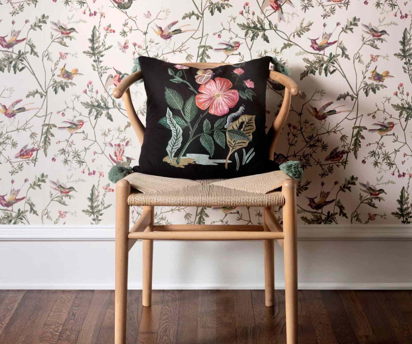 Garden Rose Embroidered Pillow