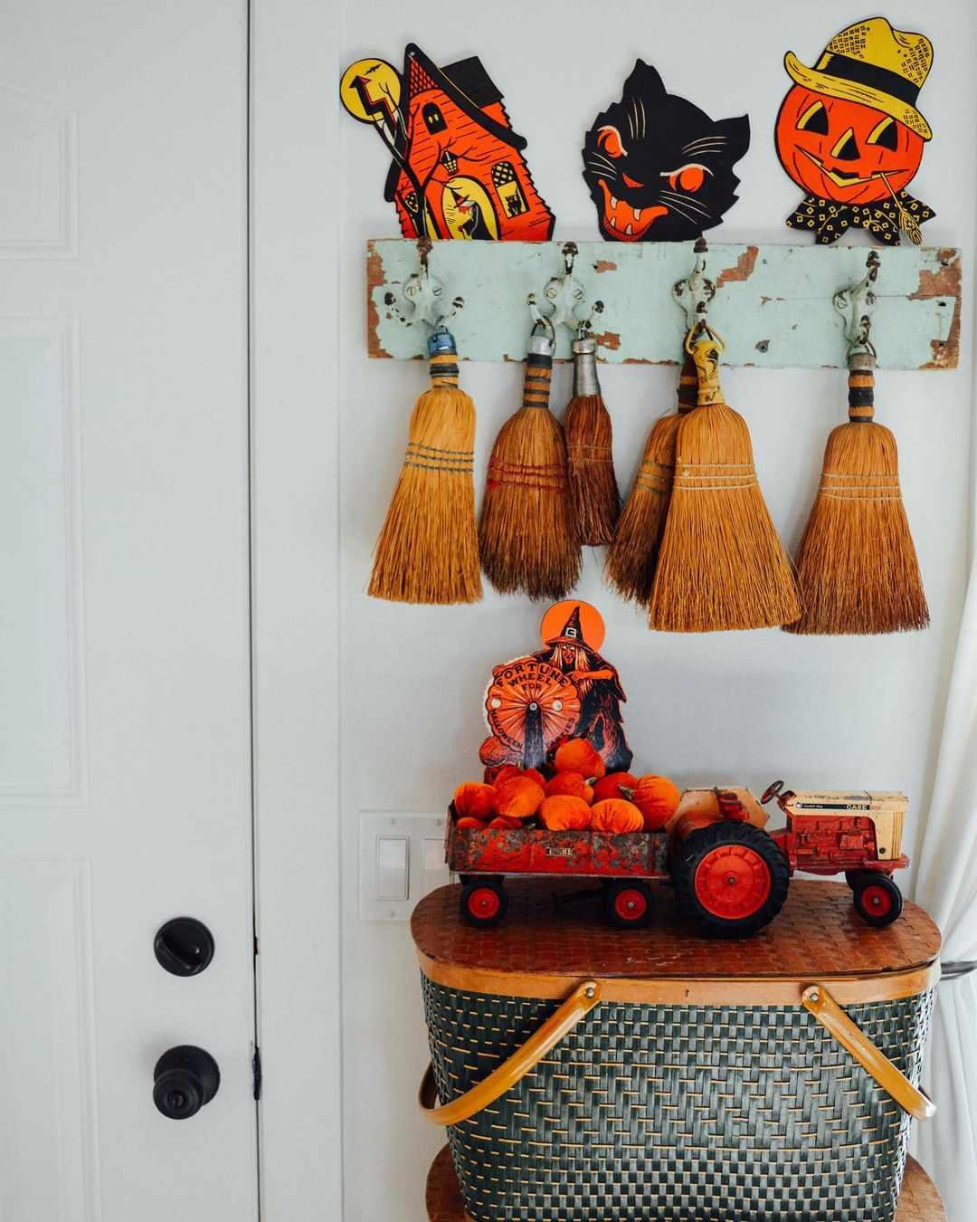 Brooms hanging up