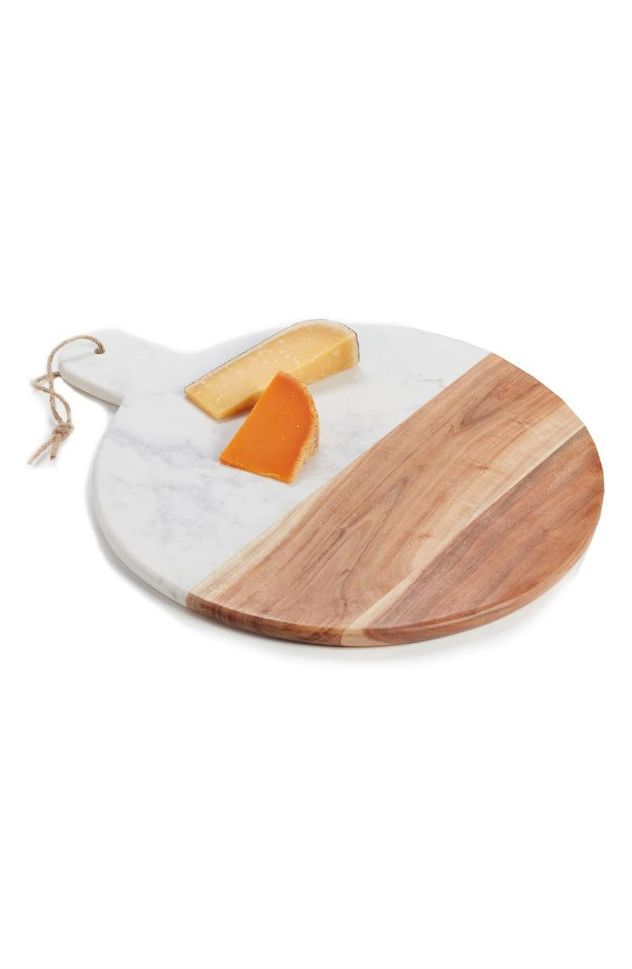Nordstrom At Home Round Marble & Acacia Wood Serving Board