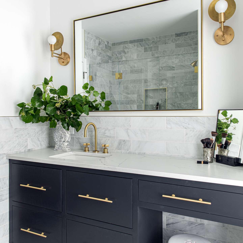 Large bathroom vanity and mirror.