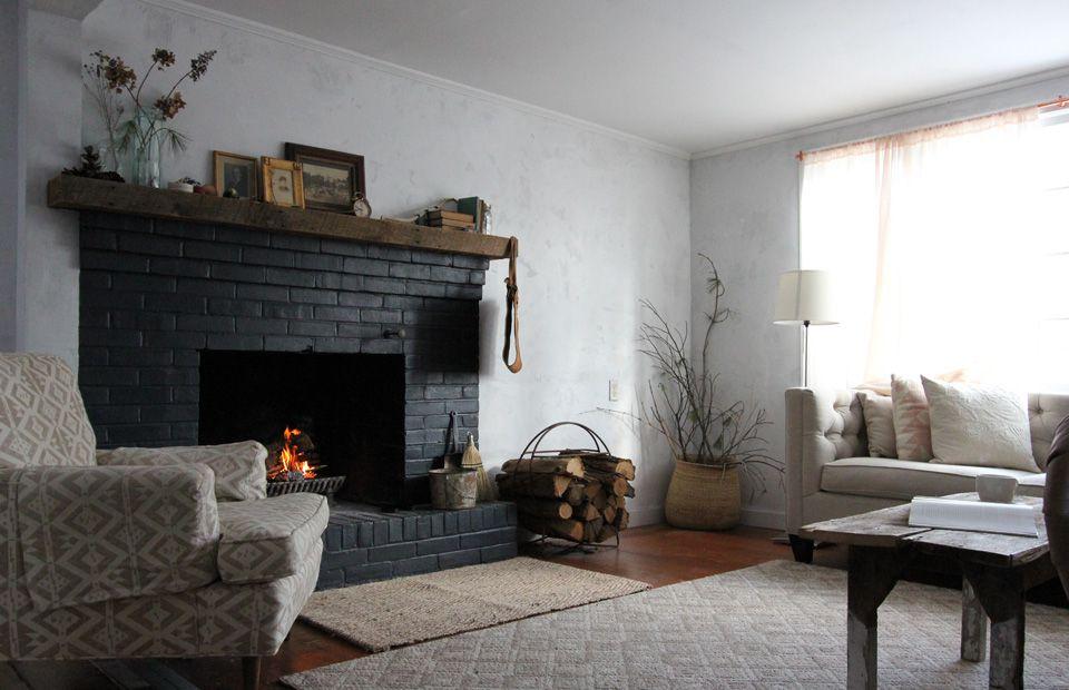Dark brick fireplace.