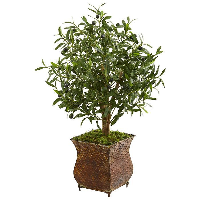 Nearly Natural 9220 2.5-Ft. Olive Artificial Metal Planter Silk Trees Green
