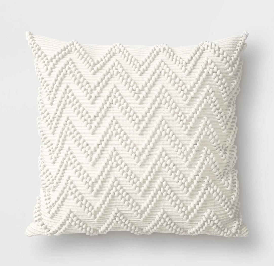 White outdoor pillow