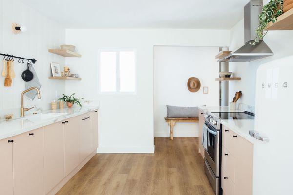 Small pink kitchen